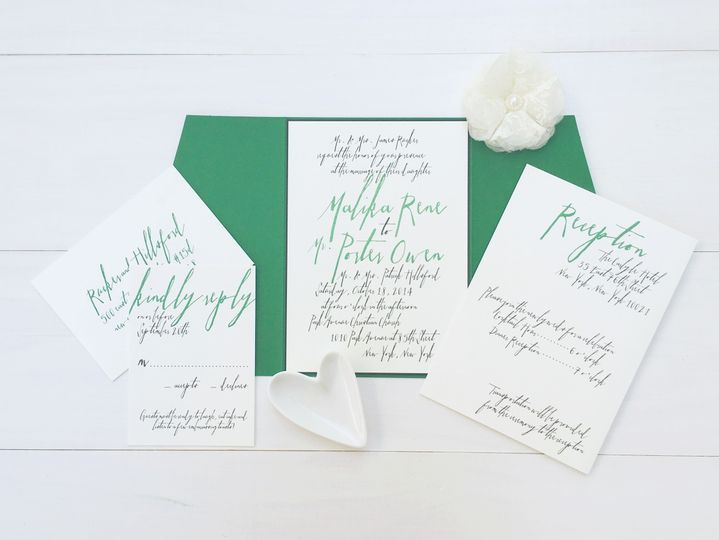 jsd modern wedding invitation with lettering