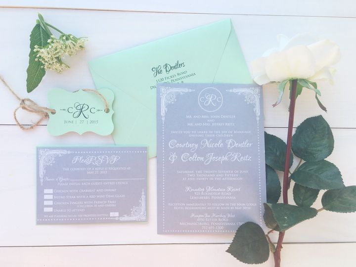 jsd silver mint white ink wedding invitation