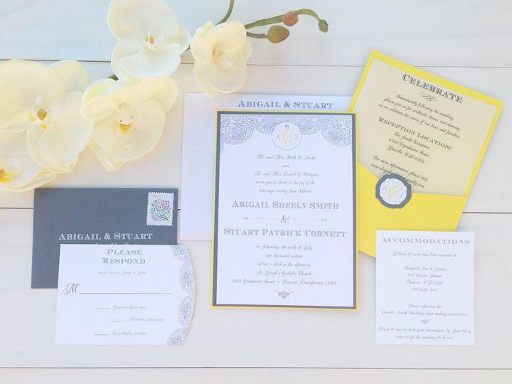 jsd thermo print yellow gray wedding invitation