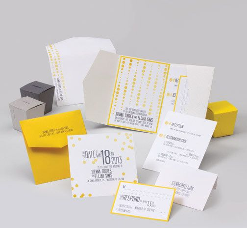 jsd e yellow bokah dot modern wedding invitation