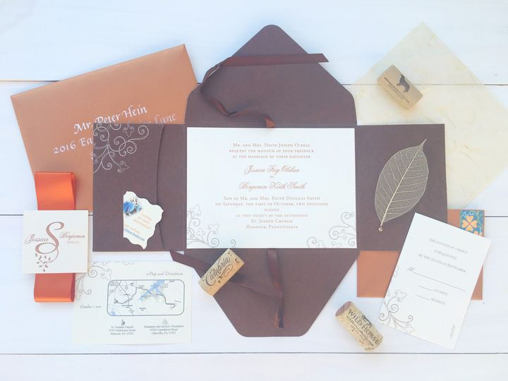 Tmx 1493299054306 Jsd Burnt Orange Fall Elegant Wedding Invitation Hanover wedding invitation