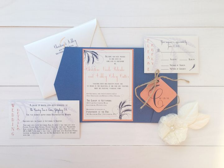 Tmx 1493299230218 Jsd Navy And Orange Rustic Wedding Invitation Hanover wedding invitation