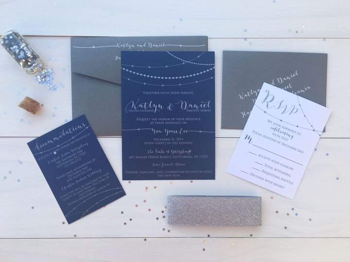 Tmx 1493299246677 Jsd New Years Silver Print Navy Wedding Invitation Hanover wedding invitation