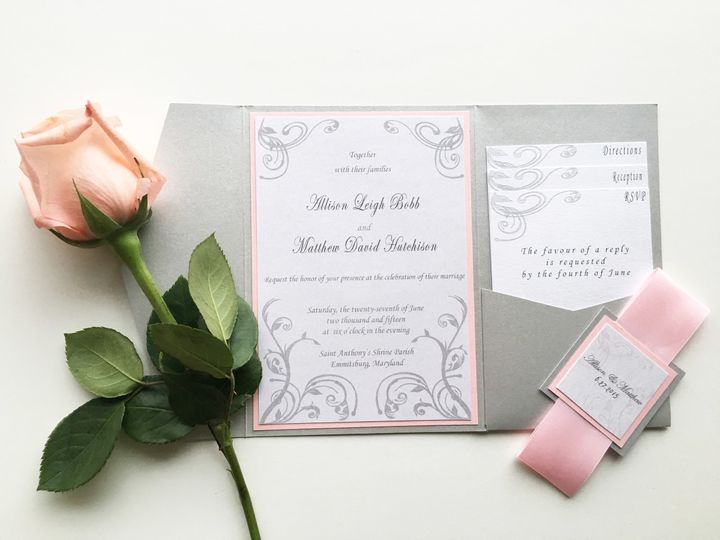 Tmx 1493299352769 Jsd Silver Blush Elegant Wedding Invitation Hanover wedding invitation