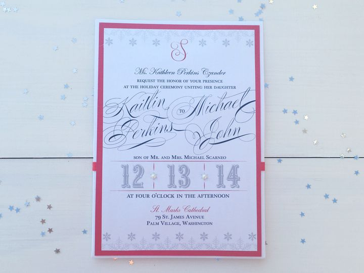 Tmx 1493299388047 Jsd Silver Red Holiday Wedding Invitation Hanover wedding invitation