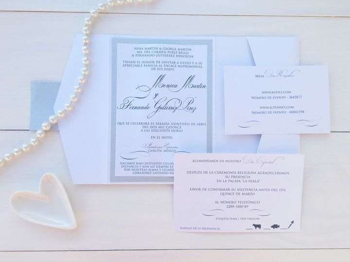 Tmx 1493299455033 Jsd Silver White Spanish Wedding Invitation Hanover wedding invitation