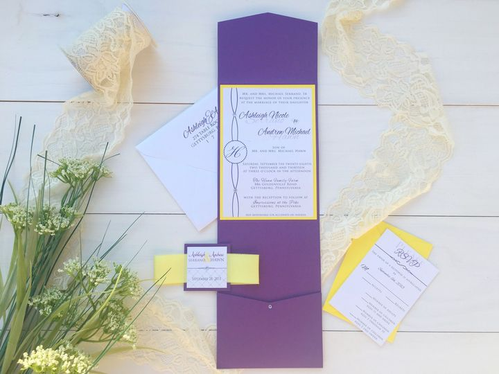 Tmx 1493299510646 Jsd Violet Yellow Modern Wedding Invitation Hanover wedding invitation