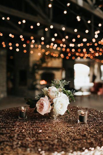 Roses beneath bistro lights