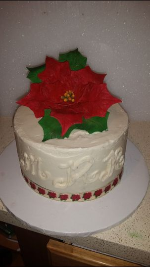 Cake with a red flower