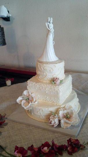 Fondant peony wedding cake