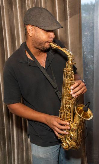 Live saxophone performance