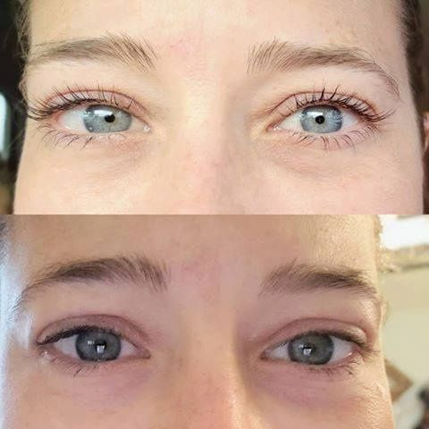 Eyelashes before and after