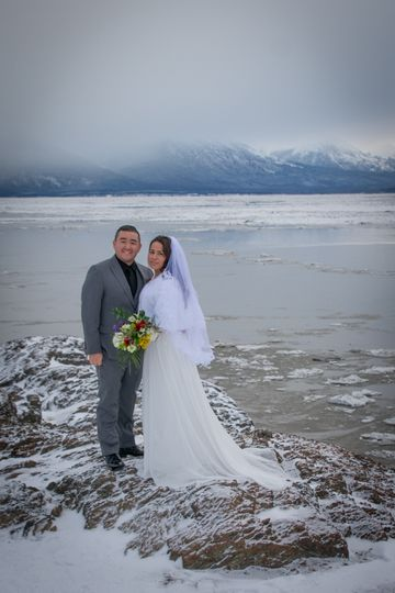 Portrait of the couple by the water