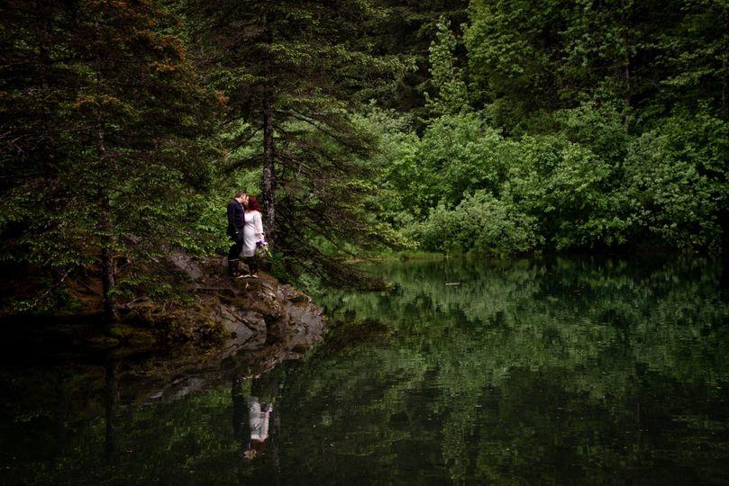 Happy couple on the bank