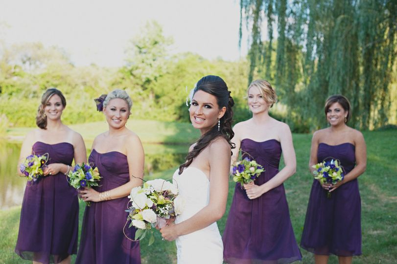 Stunning bride with bridesmaids