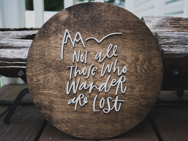 Tmx Wood Sign Circle Wander Lost 1 Of 2 51 431599 Riverton, New Jersey wedding invitation