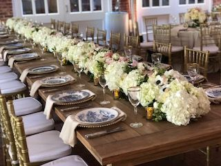 Long table with flower decoration