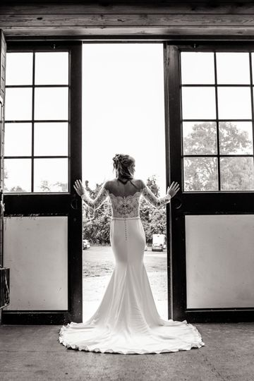 Brides dress at the stable