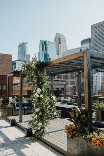 The rooftop pergola with decor