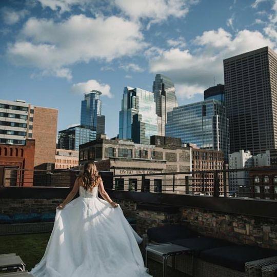 Bride against the skyline