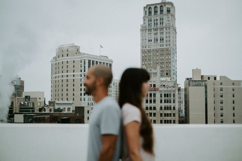 Detroit rooftop engagement