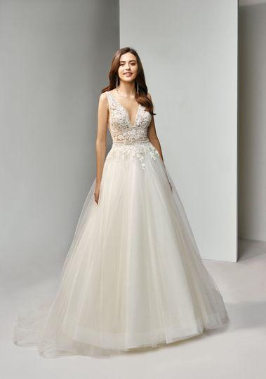 V-neck ball gown