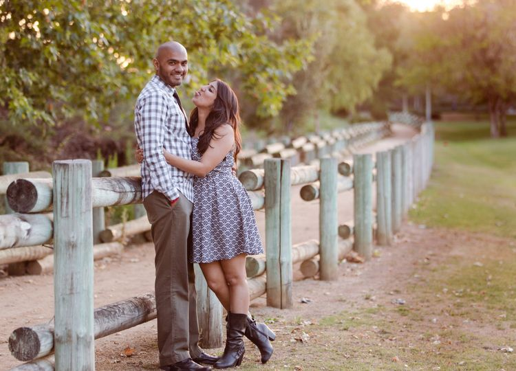 Engagement photo in the  naturalistic trails of Orange County