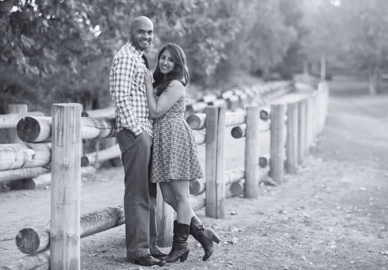 Black and white engagement photo in naturalistic trails of Orange County