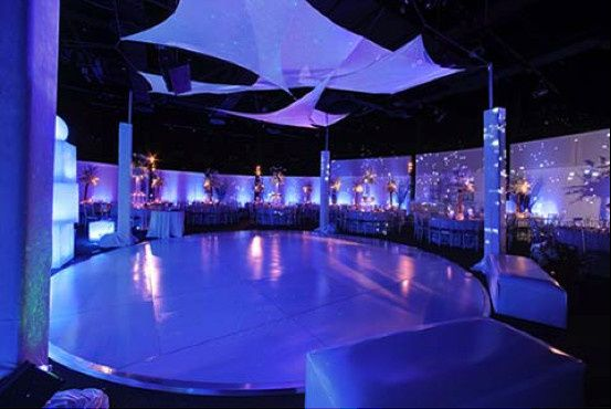 round white dance floor with lighting