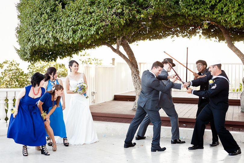 Posed wedding party photograph