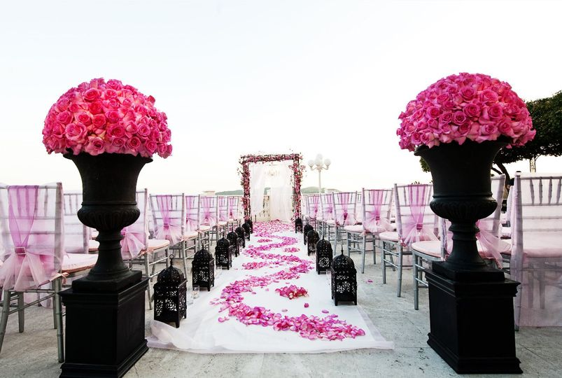 Pink flower decoration on aisle