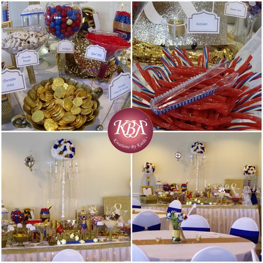Red White Blue and Gold stunning candy station for military couple.