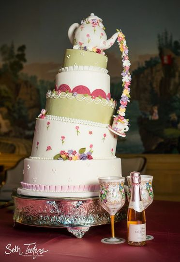 Detail photo of a tea time inspired cake