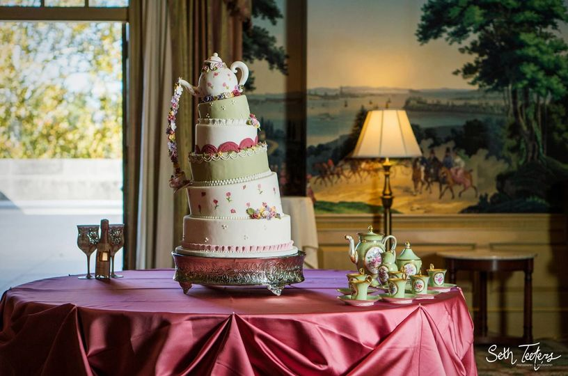 Detail photo of a tea time inspired cake, taken at the IMU in Bloomington, Indiana.