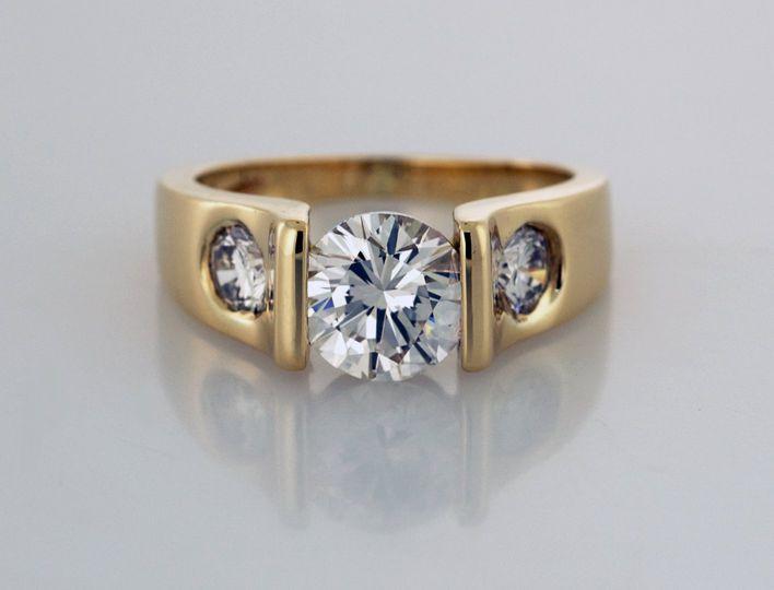 R2075 Modern Three Stone Ring