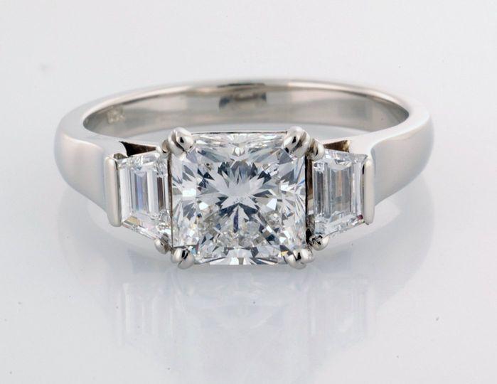 Radiant Three Stone Ring