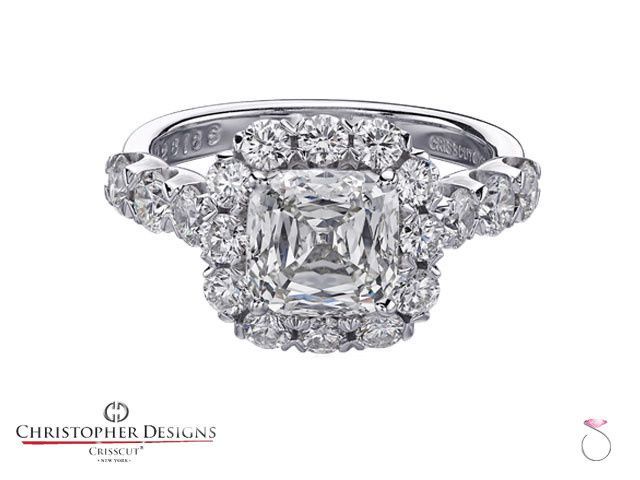 The Most popular Christopher Designs Diamond Halo Engagement Semi-Mount. Featuring 24 round diamonds...