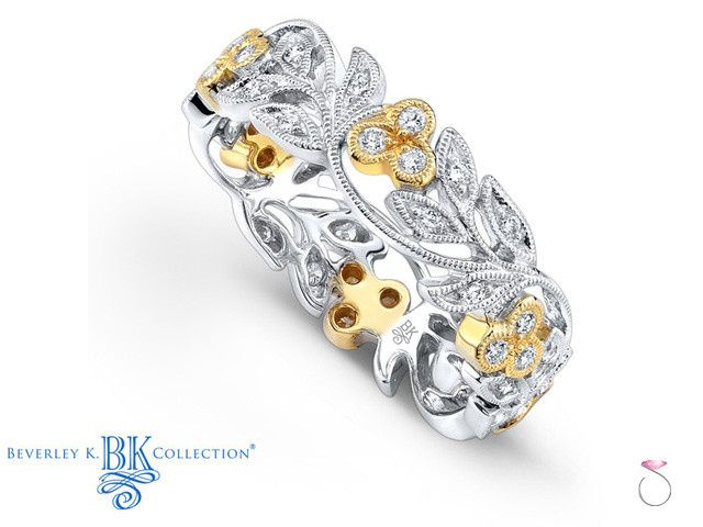 Vintage two tone Floral diamond wedding band, by Beverley K.