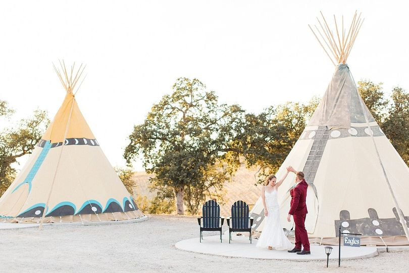 Tipis for lodging and photos