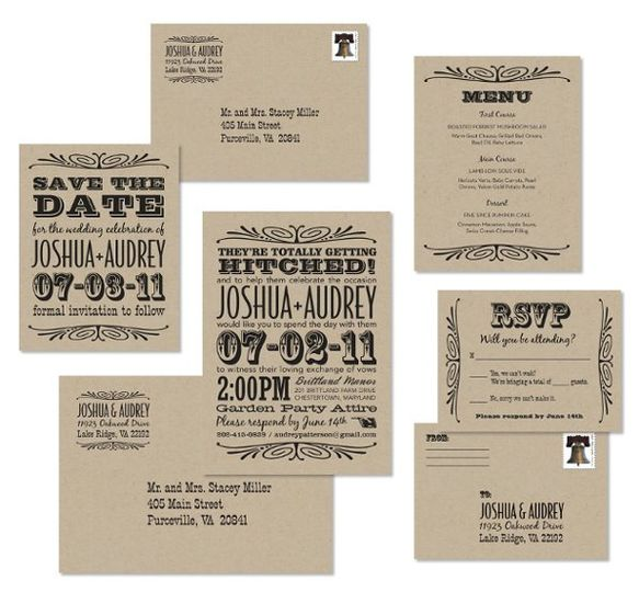 HamiltonWedding Invitation set