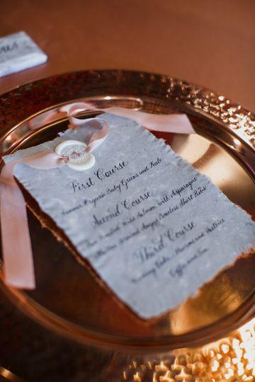 Hand calligraphed menus