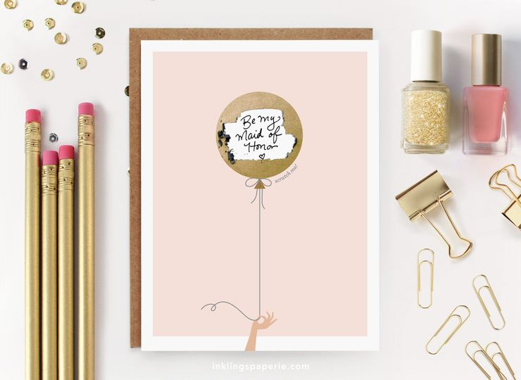 "Our scratch-off ""Be My Bridesmaid"" cards allow you to hide your own custom handwritten note beneath..."