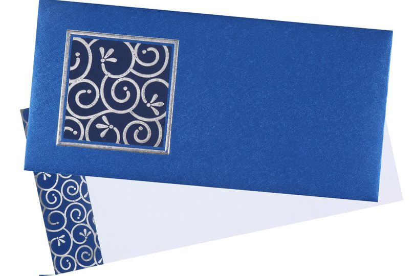 wedding invitation in royal blue and silver colour