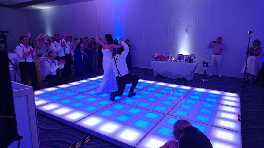 Bride and groom lighting up the dance floor