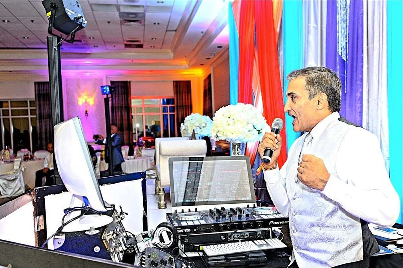 The dj in the microphone
