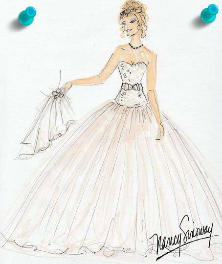 Illustration of a wedding gown design