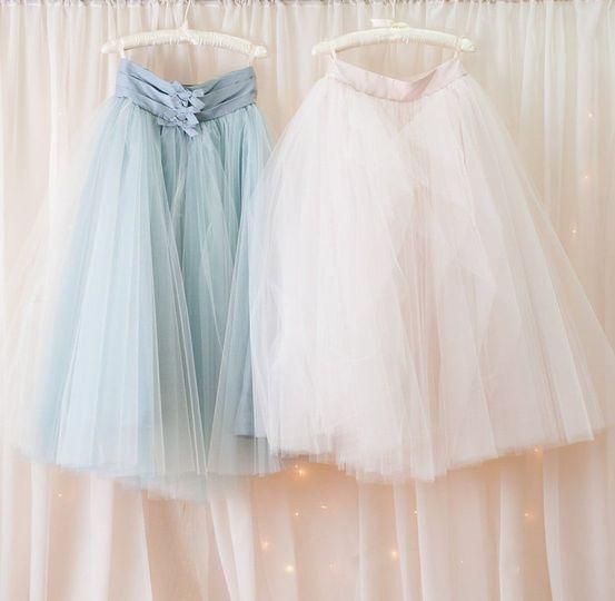 Silk tulle skirts