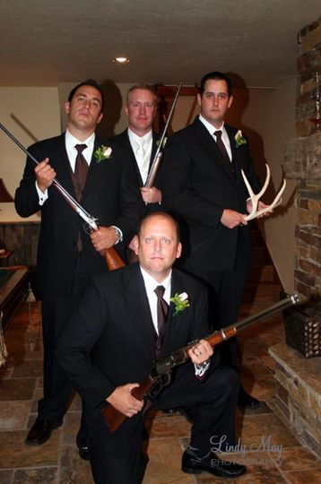 Groom with Groomsmen and guns