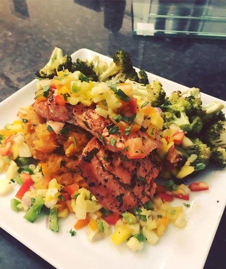 Jerk Spiced Sock Eye Salmon & Island Salsa, Whipped Sweet Potatoes & Roasted Broc