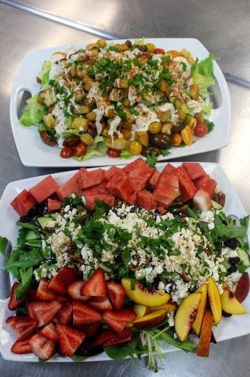 Fruit & Feta Salad. Vegan Caesar Salad